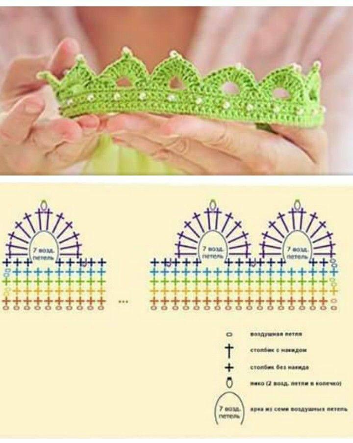 Corona verde sencilla y fácil de ganchillo