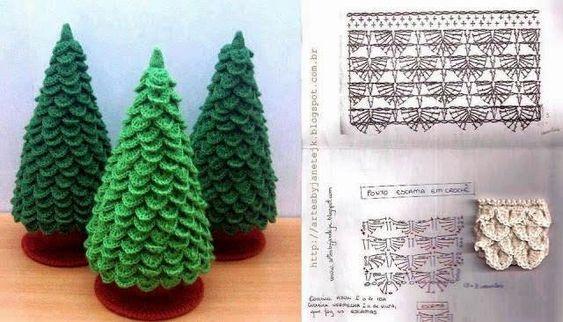 Árboles de Navidad con gráficos para ganchillo