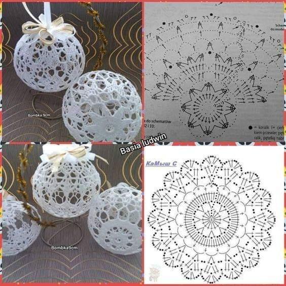 Graficos bolas navidad para hacer en ganchillo