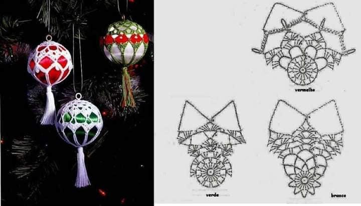 Bolas de navidad huecas, gráficos para ganchillo