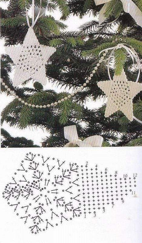 Estrella de navidad hueca, gráfico para ganchillo