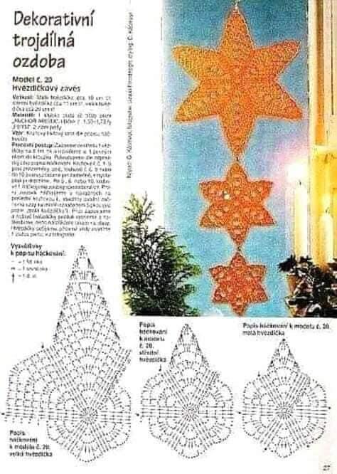 Estrella de navidad plana, gráfico para ganchillo