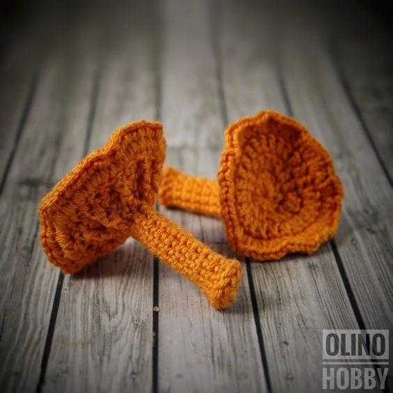 Níscalos naranjas de ganchillo