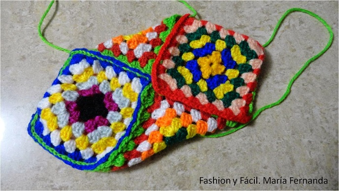 patrón pantuflas grannys square