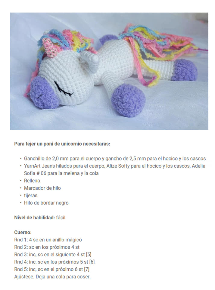 Patrón unicornio bebe de ganchillo - primera parte