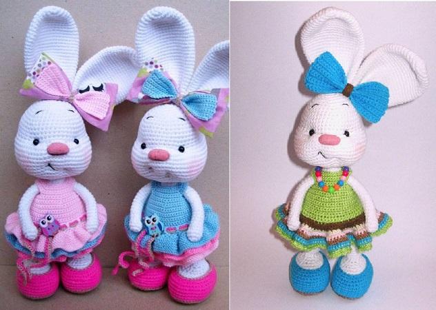 Tres conejitas preciosas hechas en ganchillo