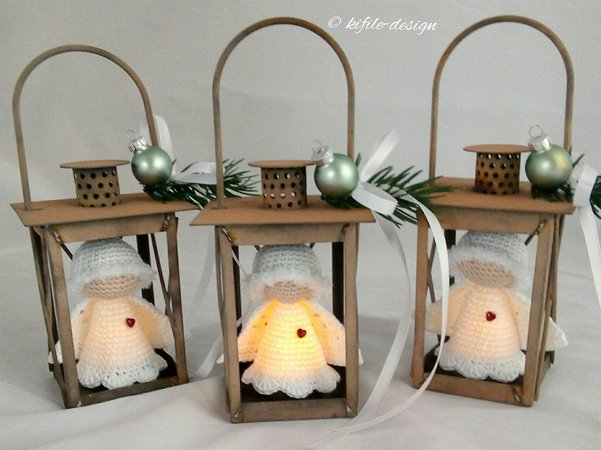 Muñequitos de ganchillo con luz para Navidad