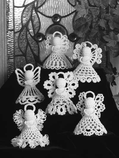 6 ángeles blancos en ganchillo