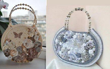 Pareja de bolsos hechos en ganchillo con flores de raso y cuentas de adorno