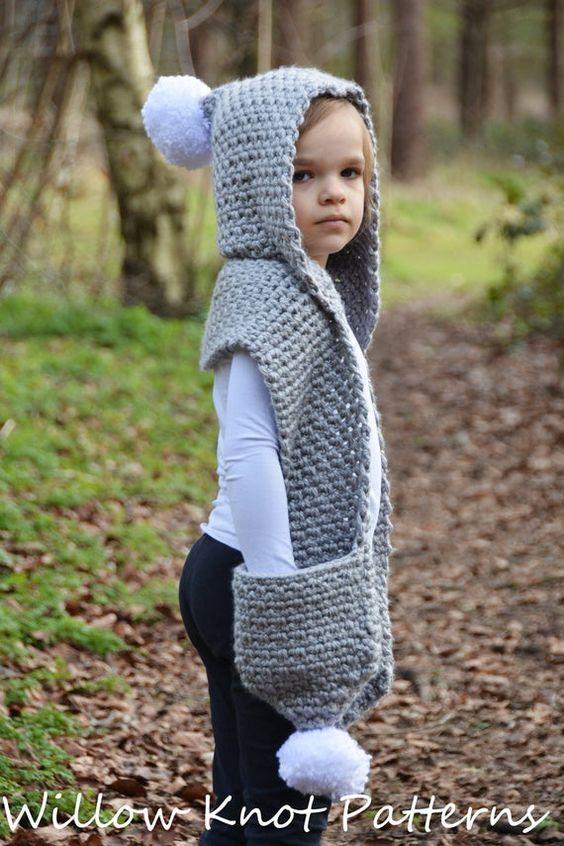 Gorro y bufanda en uno para nenes en ganchillo