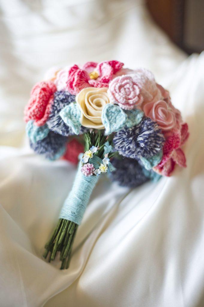 ramo de novia hecho en ganchillo